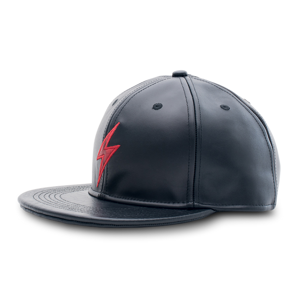 Rockertype Leather Baseball Hat Black/Red