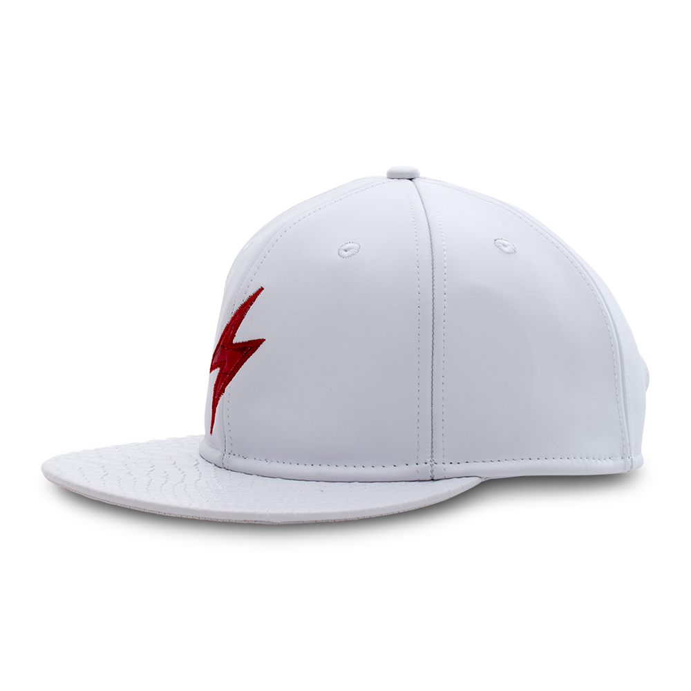 Rockertype Leather Baseball Hat White/Red