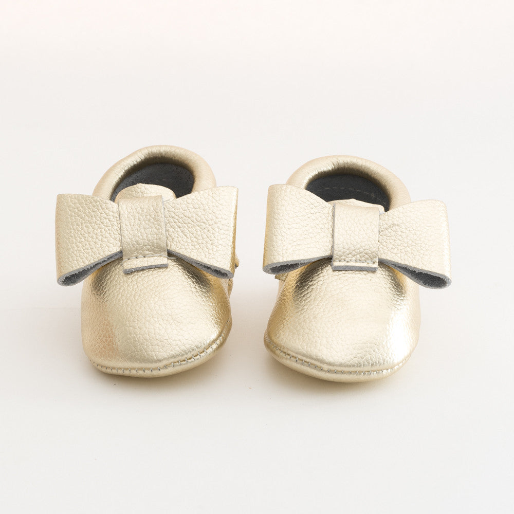 Ribbon Baby Leather Moccasins Gold Mine