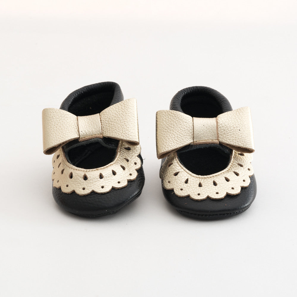 Bow Baby Leather Sandals Black/Gold