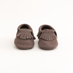 Fringe Baby Leather Suede Moccasins Light Grey