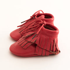 Hi-Top Baby Gladiator Leather Moccasins Red