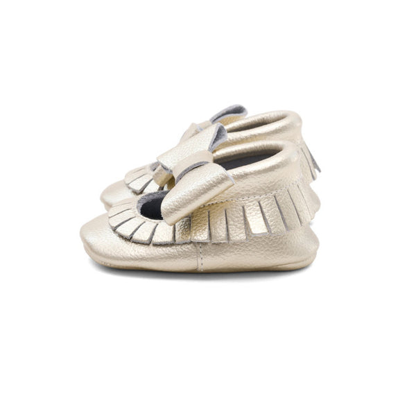 Mary Jane Leather Baby Moccasins Gold