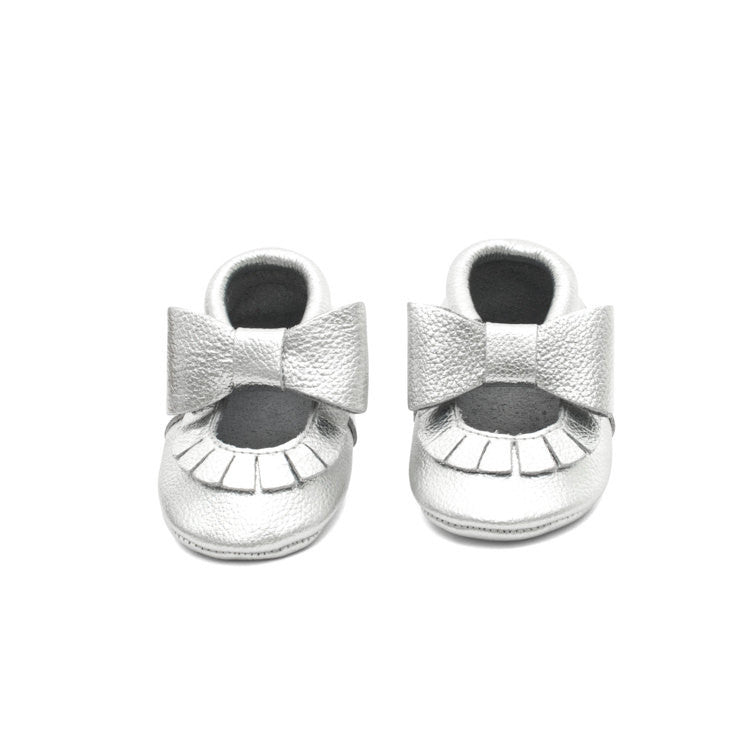 Mary Jane Leather Baby Moccasins Silver