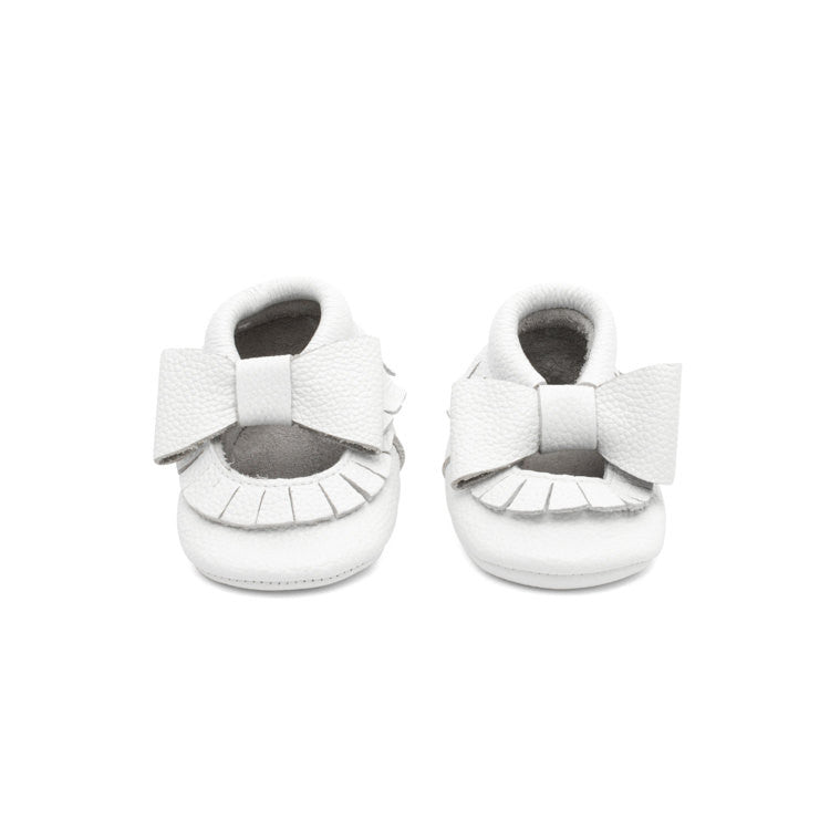 Mary Jane Leather Baby Moccasins White