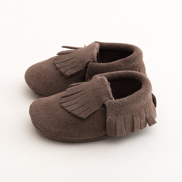 Fringe Suede Leather Baby Moccasins Gray
