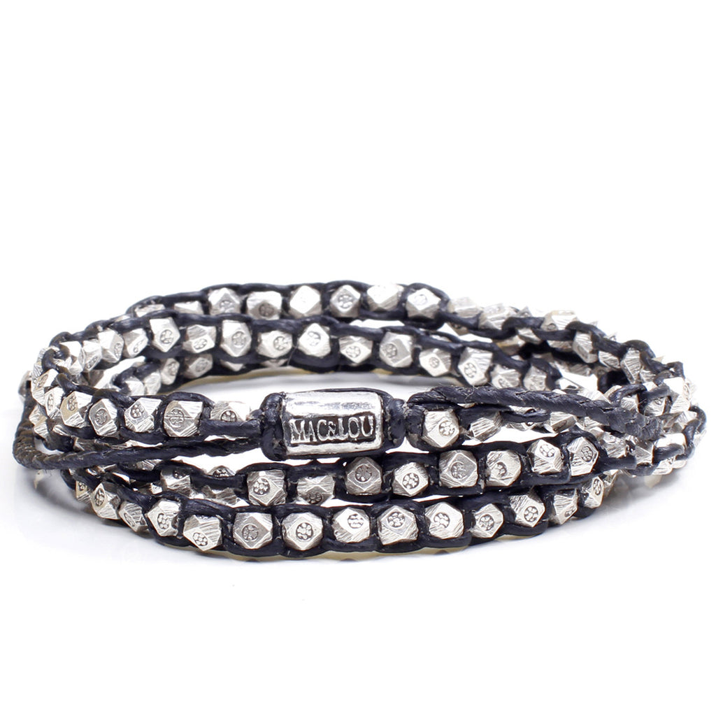 Sterling Silver Nugget 3-Layer Wrap Bracelet