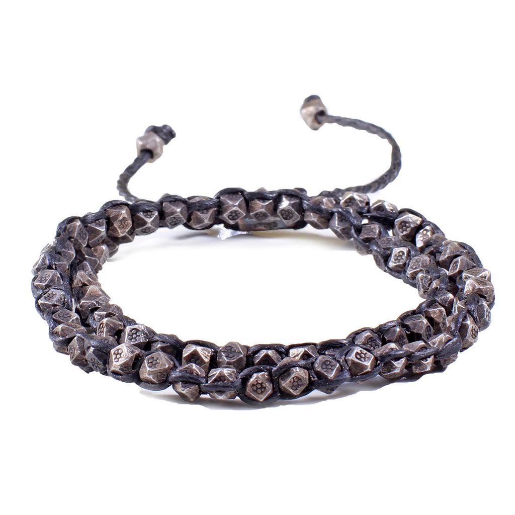 Oxidized Silver Nugget 2-Layer Wrap Bracelet