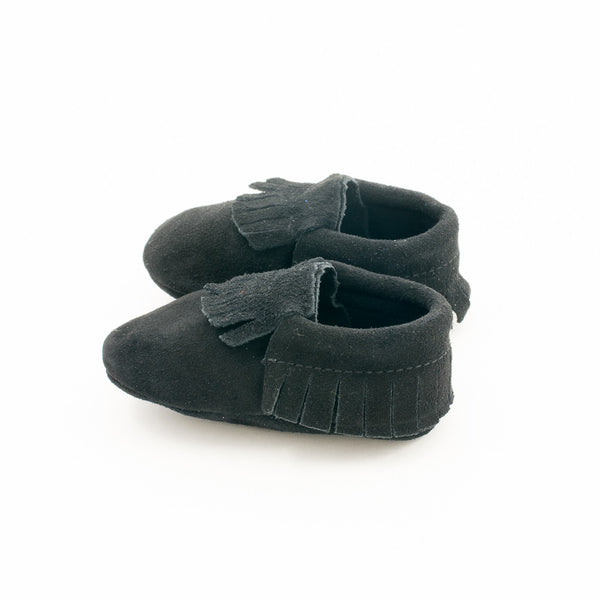 Fringe Suede Leather Baby Moccasins Black Beauty