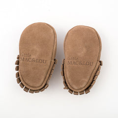 Fringe Suede Leather Baby Moccasins Tan