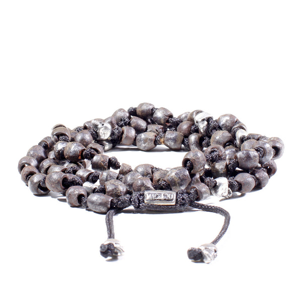 Hand-Knotted 4-Layer Iron & Silver Wrap Bracelet
