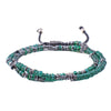 Fine Silver & Natural Glass 2-Layer Stalked Bracelet
