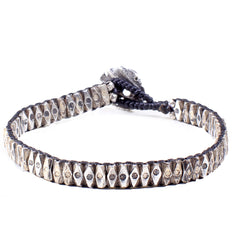 Handwoven Silver Tube Tribal Bead Bracelet
