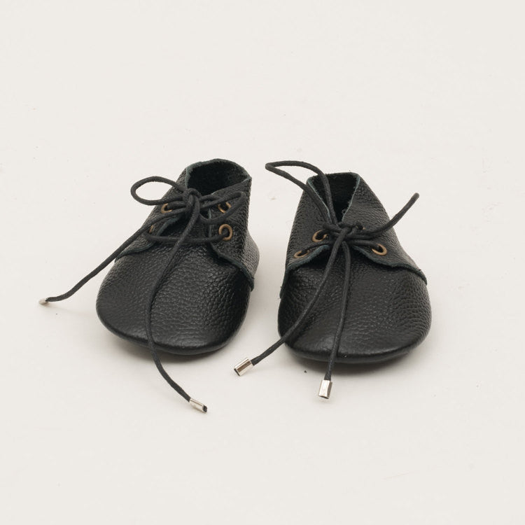 Lace-Up Leather Baby Moccasins Black