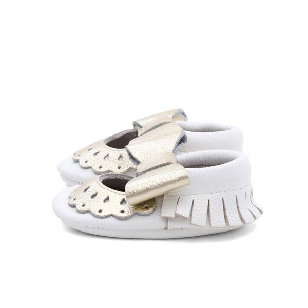 Mary Jane Bow Leather Baby Moccasins White/Gold