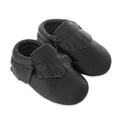 Fringe Baby Leather Moccasins Black Beauty