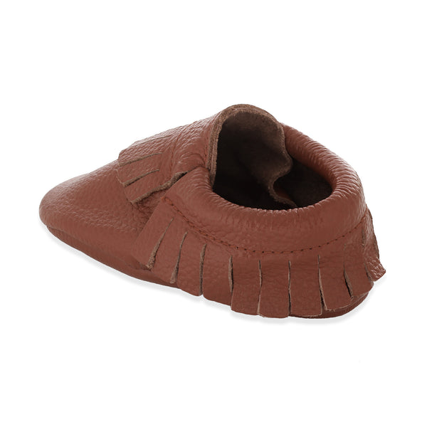 Fringe Baby Leather Moccasins Brown Sugar
