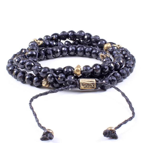 Black Spinel with Skulls 3-Layer Wrap Bracelet
