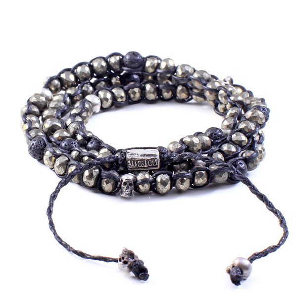 Pyrite and Lava 3-Layer Wrap Bracelet