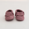 Fringe Suede Leather Baby Moccasins Purple Rain