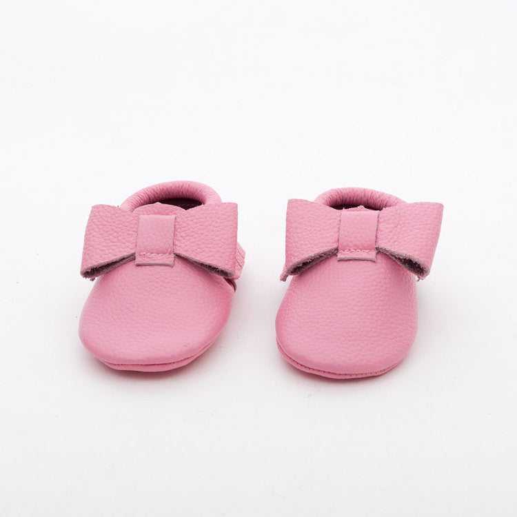 Ribbon Baby Leather Moccasins Pink