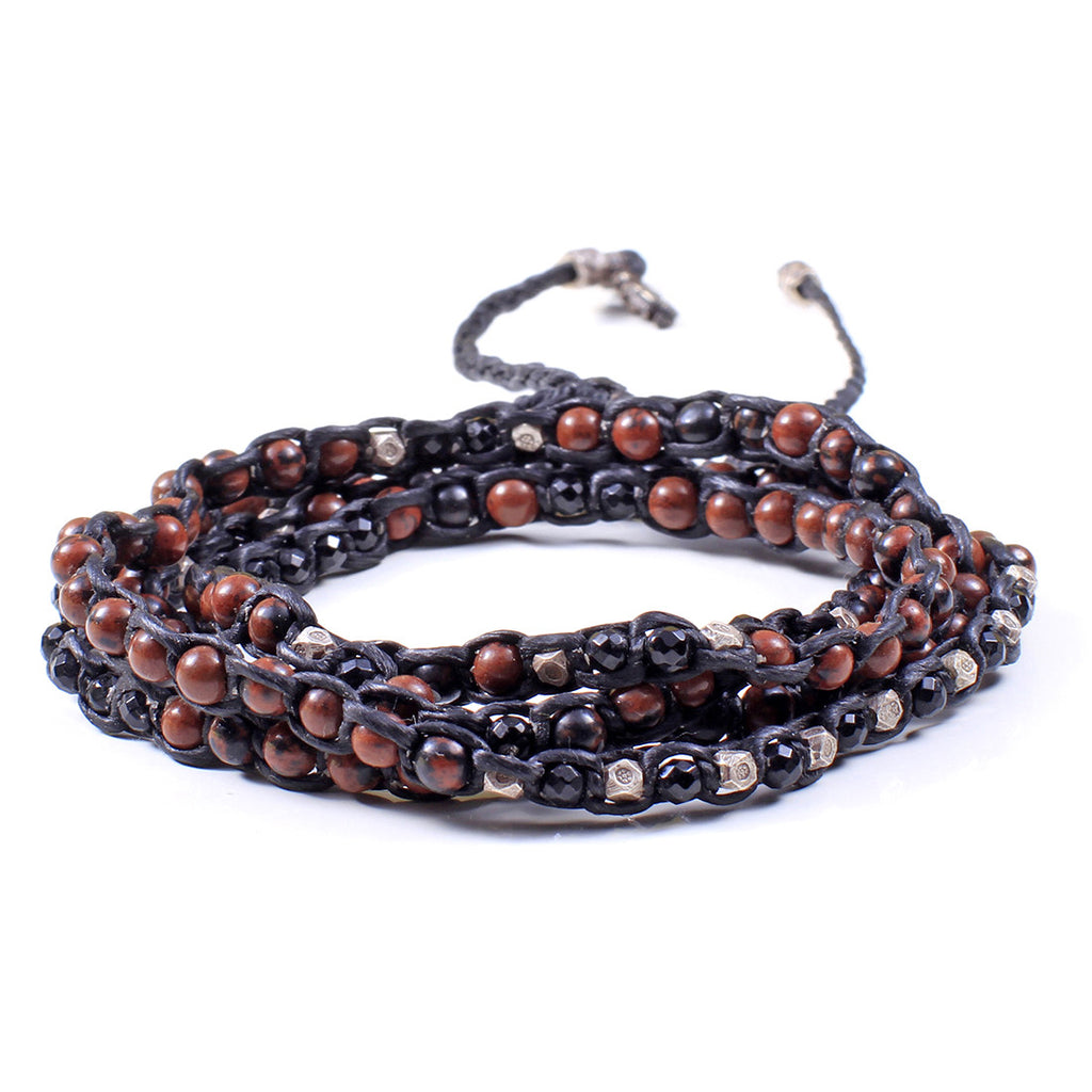 Natural Bead And Sterling Silver 4-Layer Wrap Bracelet