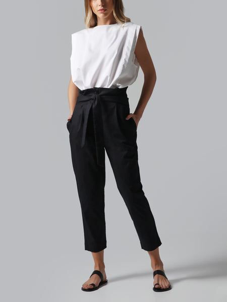 Belted Cropped Linen Pants