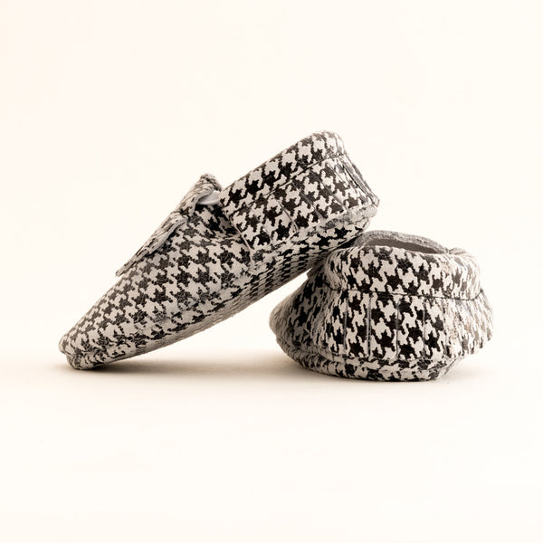 Fringe Baby Leather Moccasins Houndstooth