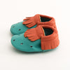 Fringe Baby Leather Moccasins Green/Orange Doplhin