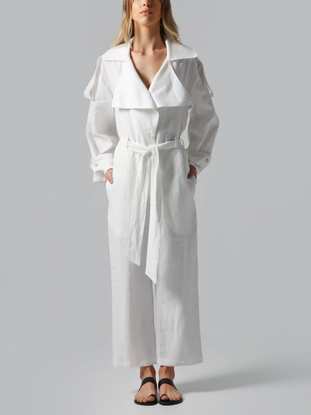 Long Sleeve Belted White Linen Jumpsuit