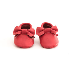 Bow Baby Leather Moccasins Red Corvette