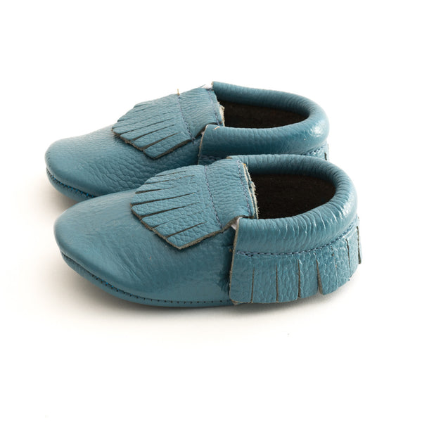 Fringe Baby Leather Moccasins Turquoise Blue