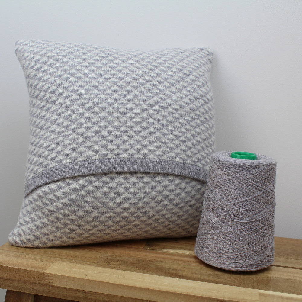Triangle knitted cushion - light grey