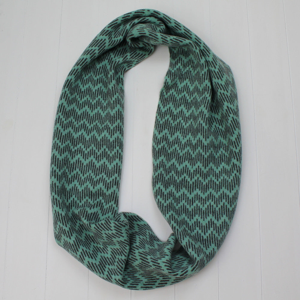 Zig zag circle scarf - mint and cliff