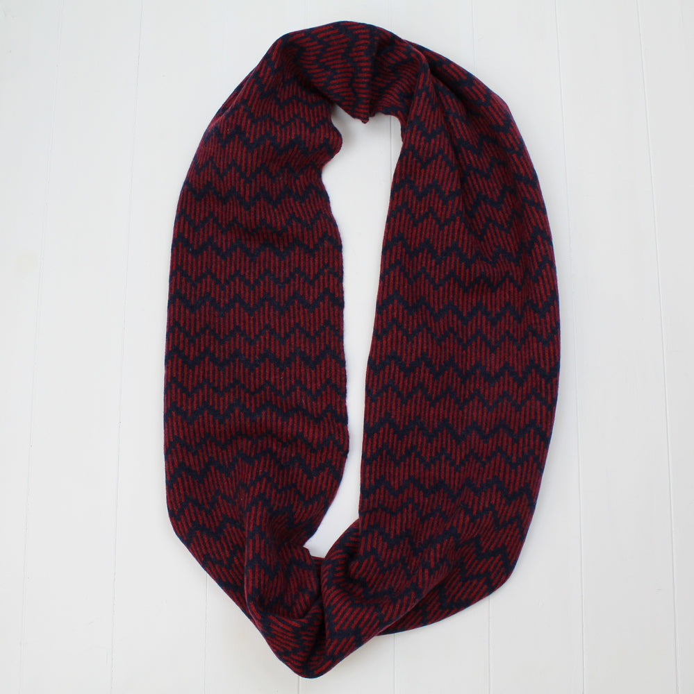 Zig zag circle scarf - navy and red