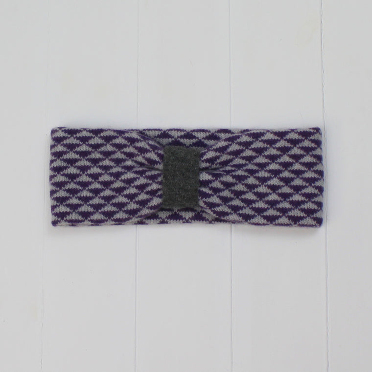 Triangle knitted headband - purple/grey