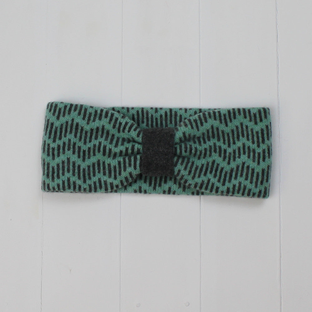 Zig zag headband - mint and cliff