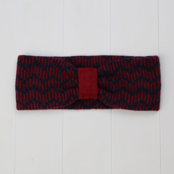 Zig zag headband - navy and red