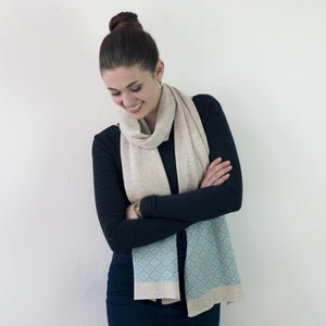 Fair isle scarf - linen and seafoam
