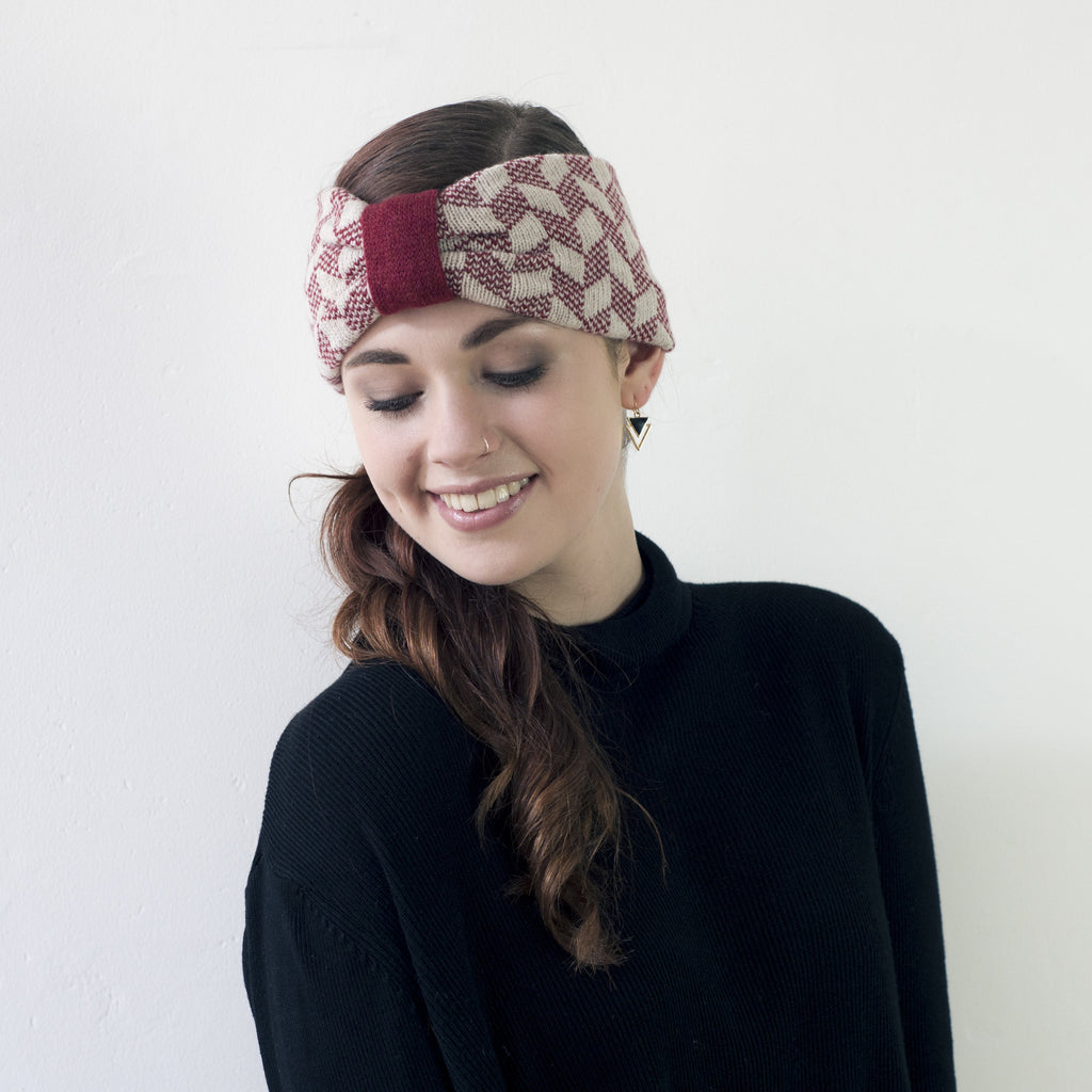 Chevron knitted headband - magma and linen