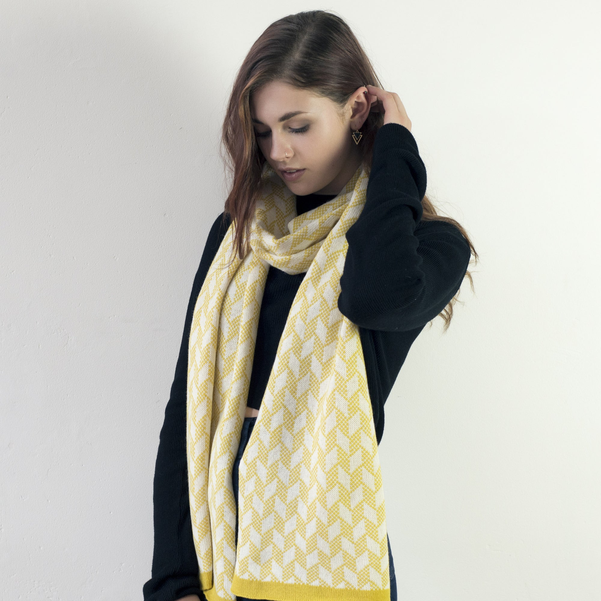 Chevron scarf - piccalilli and ecru