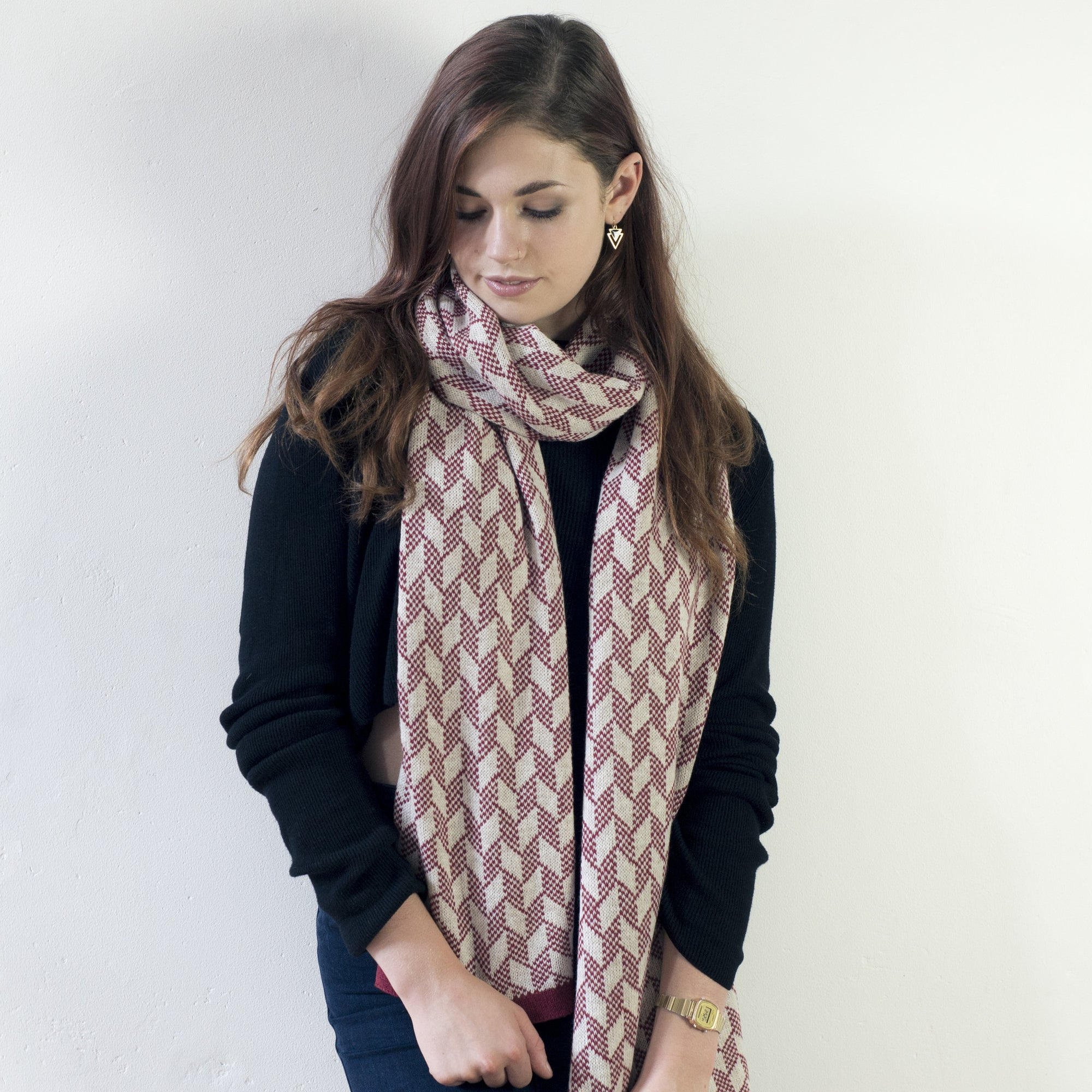 SAMPLE SALE Chevron scarf - magma and linen