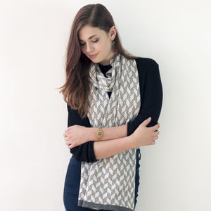 Chevron scarf - cliff and white