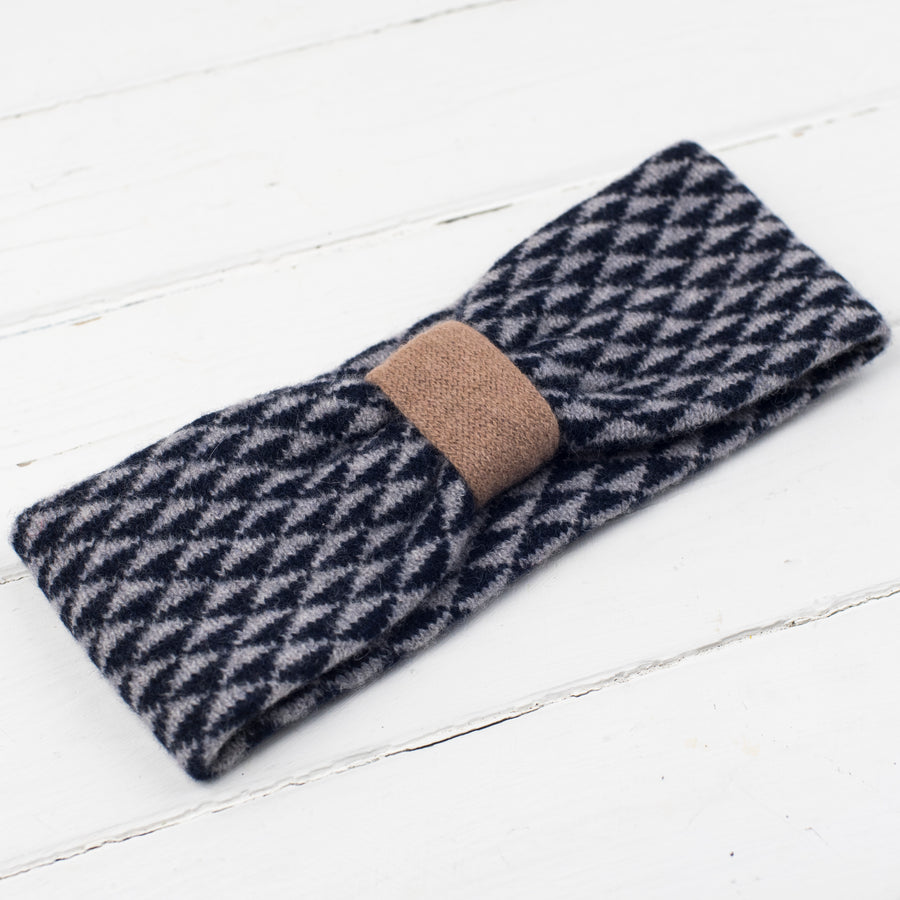 Triangle knitted headband - camel/navy/grey
