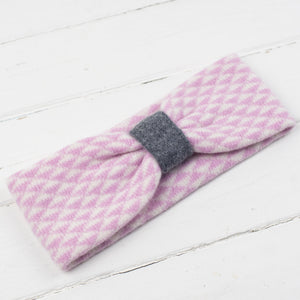 Triangle knitted headband - pink/white/grey