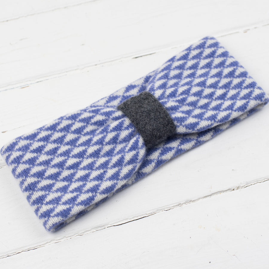 Triangle knitted headband - lilac/white/cliff