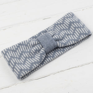 Zig zag headband - seal and white