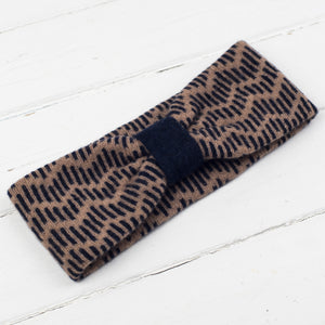 Zig zag headband - camel and navy
