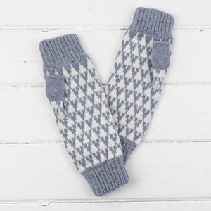 Arrow mitts - seal and ecru