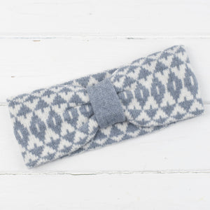 Mirror cowl, headband + wristwarmers set - seal and white